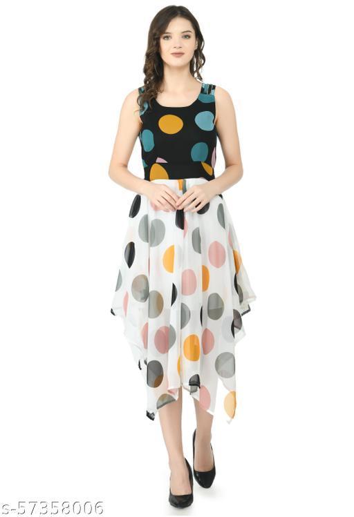 absorbing Women Georgette Midi Printed Dress