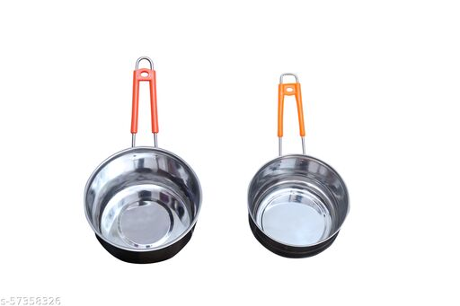 Arsh Gas and Induction Base Stainless Steel Tea/Coffee Tope Saucepan Set of 2 Sauce Pan 15 cm, 17 cm diameter 1 L, 2 L capacity (Stainless Steel, Induction Bottom)