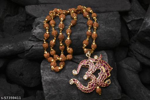 Om kempu Pendant With Rudraksha Mala for Man