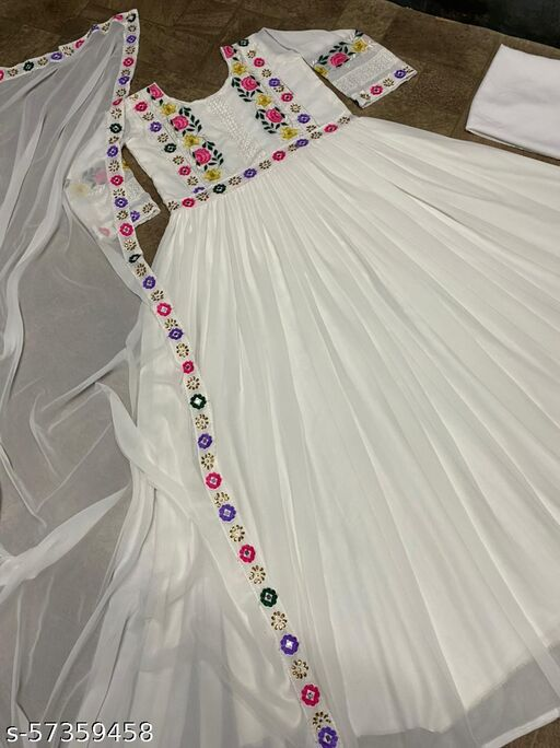 Its White Color Embdroidery Work Fancy Gown With Dupatta