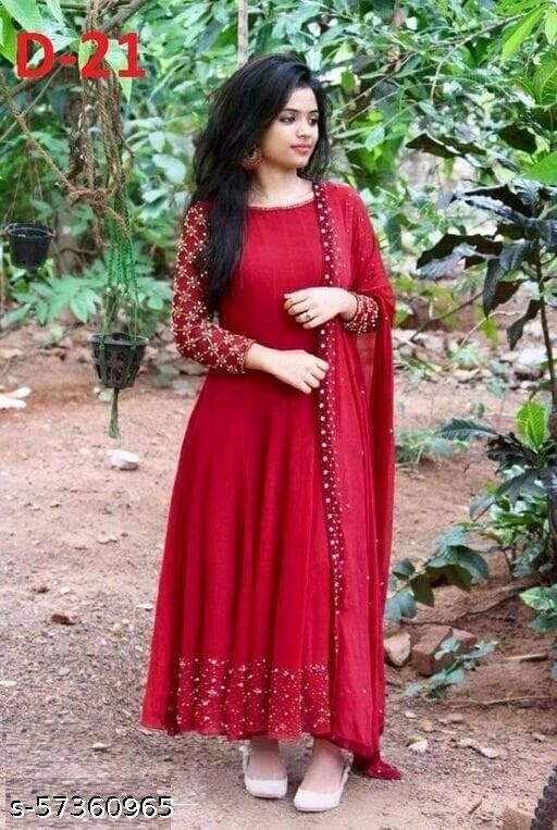 Kajal Women's Georgette Embroidery With Moti Long Gown with Dupatta