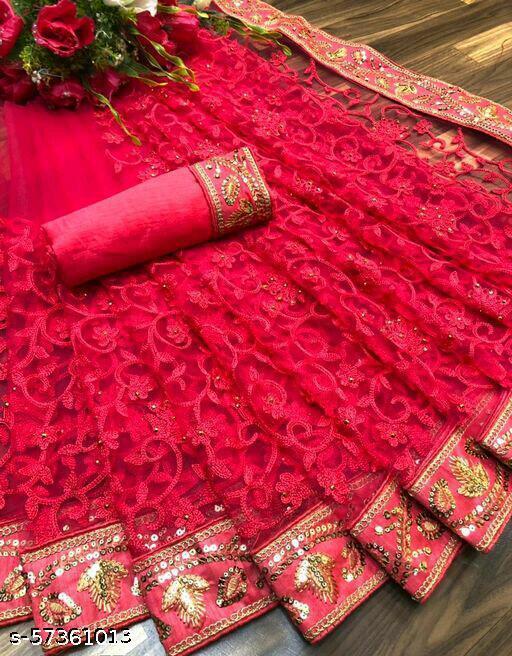 SE Women's Net Chikankari  Embroidered Heavy Maggum Border Party Wedding Sarees