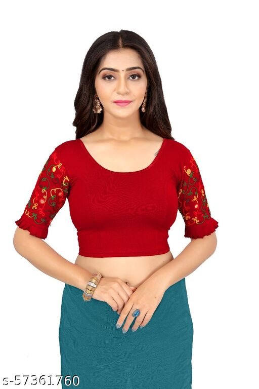 SNX LYCRA BLENDED BLOUSE WITH EMBRODIERY SLEEVE