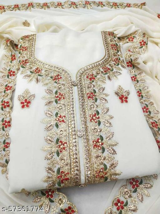 Georgette Embroidered Salwar Suit Material  (Unstitched)