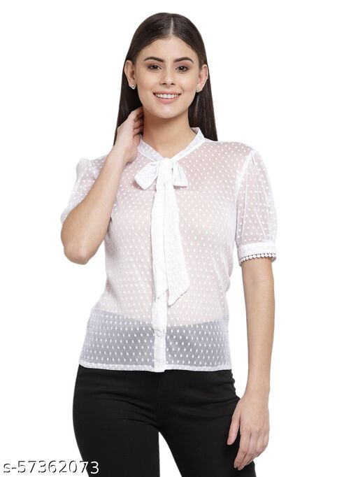 Style Quotient Women White Opaque Casual Shirt