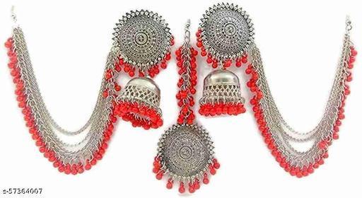 Oxidized silver Bahubali Jhumka with Maang Tikka
