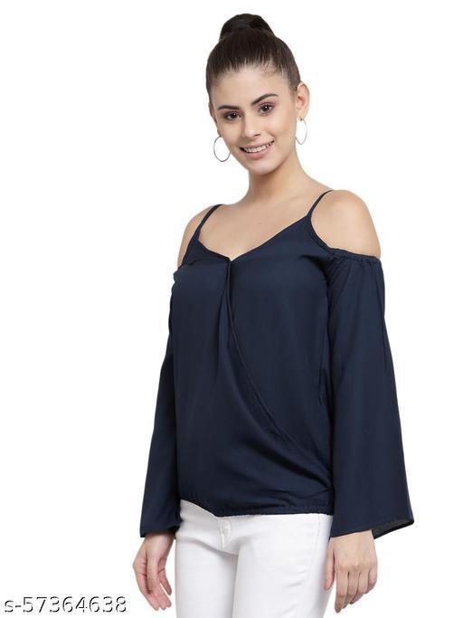 Style Quotient Women Navy Blue Crepe Regular Top