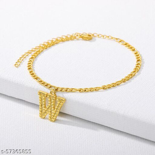 """Jewels Galaxy Jewellery For Women Gold Plated Alphabetical """"W"""" Anklet Cum Bracelet"""