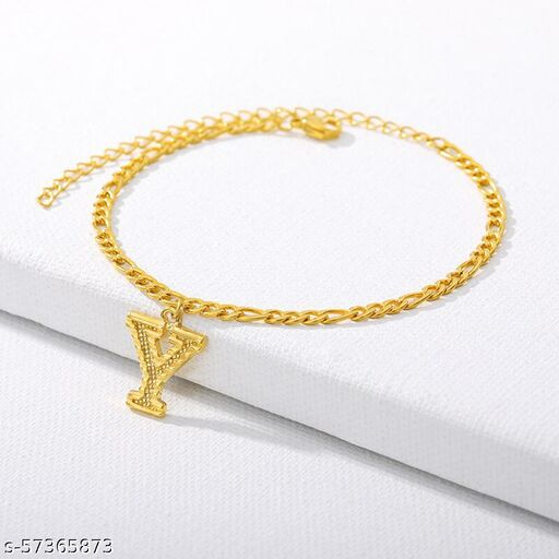 """Jewels Galaxy Jewellery For Women Gold Plated Alphabetical """"Y"""" Anklet Cum Bracelet"""