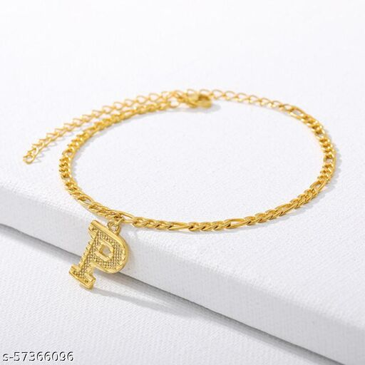 """Jewels Galaxy Jewellery For Women Gold Plated Alphabetical """"P"""" Anklet Cum Bracelet"""