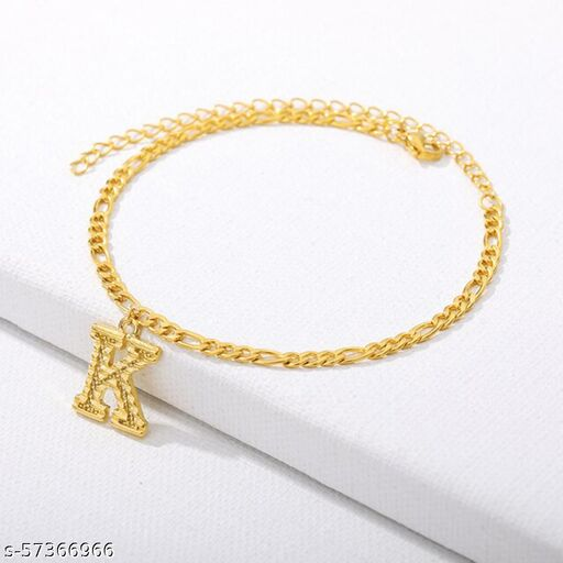 """Jewels Galaxy Jewellery For Women Gold Plated Alphabetical """"K"""" Anklet Cum Bracelet"""