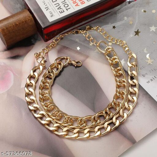 Jewels Galaxy Jewellery For Women Gold Plated Anklet Cum Bracelet