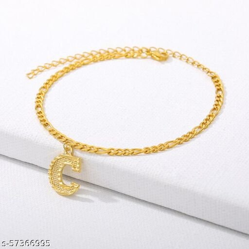 """Jewels Galaxy Jewellery For Women Gold Plated Alphabetical """"C"""" Anklet Cum Bracelet"""