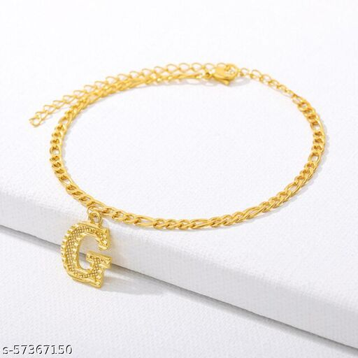 """Jewels Galaxy Jewellery For Women Gold Plated Alphabetical """"G"""" Anklet Cum Bracelet"""