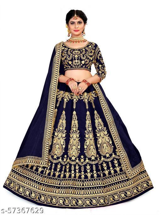 Women Lehenga Choli Ethnic Wear Embroidered Semi Stitched  Lehenga, Choli and Dupatta Set