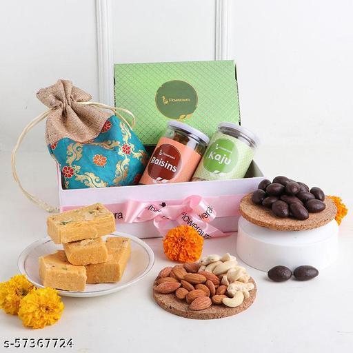 Floweraura Delightful DryFruits Sweet Hamper Best Diwali Return Gifts For Colleagues, Friends, Employees, Neighbour