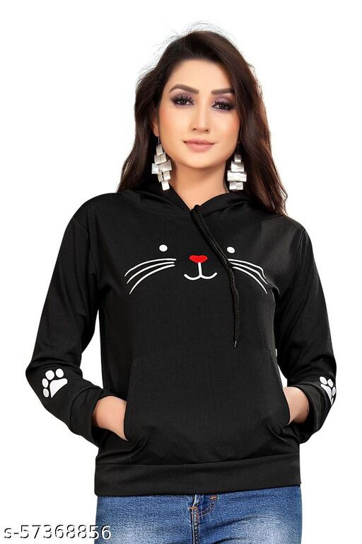 Classy Fashionable Women's Sweat Tshirts Cat Printed With Cap(set of 1)BLACK.