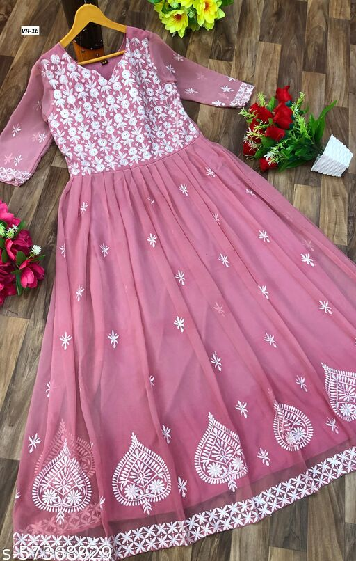 Beautiful Heavy Embdroidery work Georgette Fabric Anarkali Gown