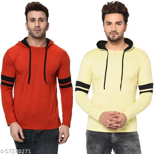 Unite Wear Men's Full Sleeve Double Hood (Red, Lemon) Pack Of 2