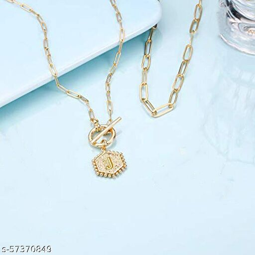 """Jewels Galaxy Jewellery For Women Gold Plated Alphabetical """"J"""" Layered Necklace"""