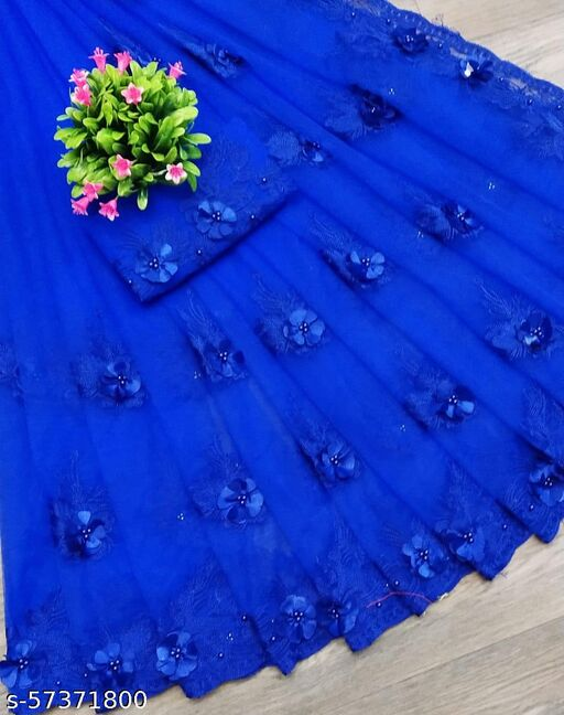 Nari Dreams New Fancy Aishani Petite Net Sarees with Blouse