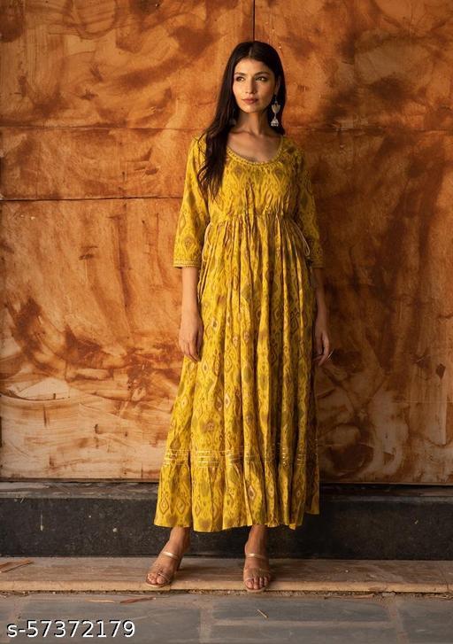Women's 100% Pure Cotton A-Line Slub Flayred Floral Printed Designer kurtI  Trending Stylish Kurti  for Women