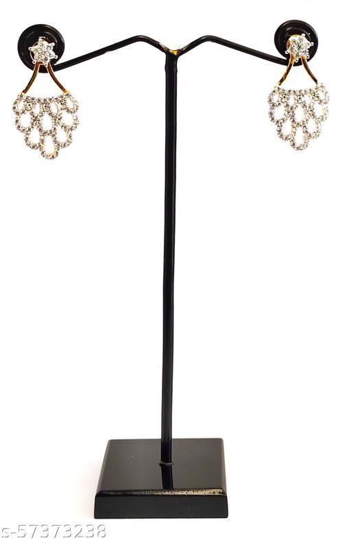 Lavish Life Style Gold Plated American Diamond Tops Earrings
