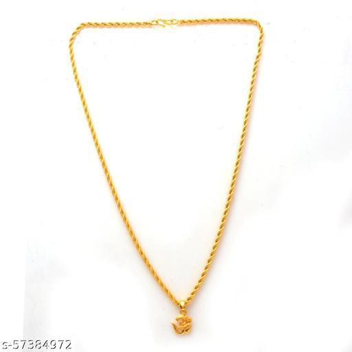 Jewar Mandi Fine Gold Plated Om Locket Brass Pendant Designer Jewellry with Chain for Men