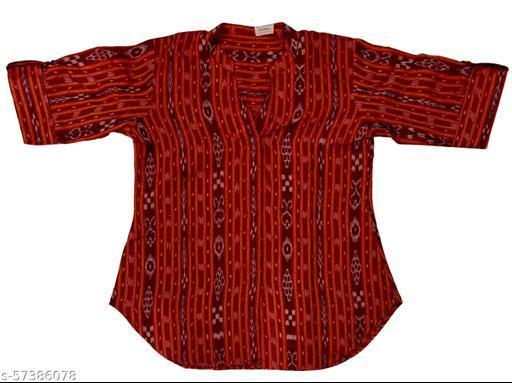 AnuMoh Trendy Sambalpuri Cotton Handloom 1/2 Sleeve Shirt for Women, Size L