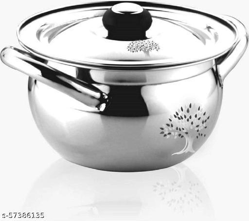 Stainless Steel Apple Handi Set with Lid and Handle | Cooking and Serving Handi | Bowl-Pot | Kitchen Utensils | Punjabi-Biryani Kadai (1500 ML)