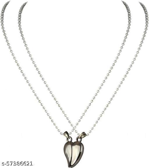 SILVER HEART SHAPE MAGNETIC LOVE BIRD DUAL SWEET HEART LOCKET & PENDANT OF UNISEX. Sterling Silver Brass Locket Set