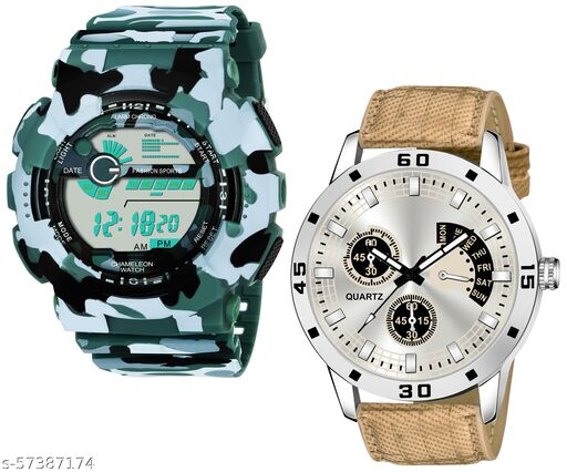 ED1048-Green + Tan New Stylish Special Analog +  Digital Watch Combo Pack For Boys
