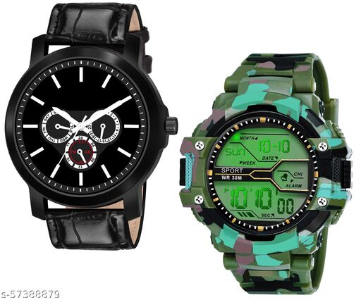 ED1049-Black + Green New Stylish Special Analog +  Digital Watch Combo Pack For Boys