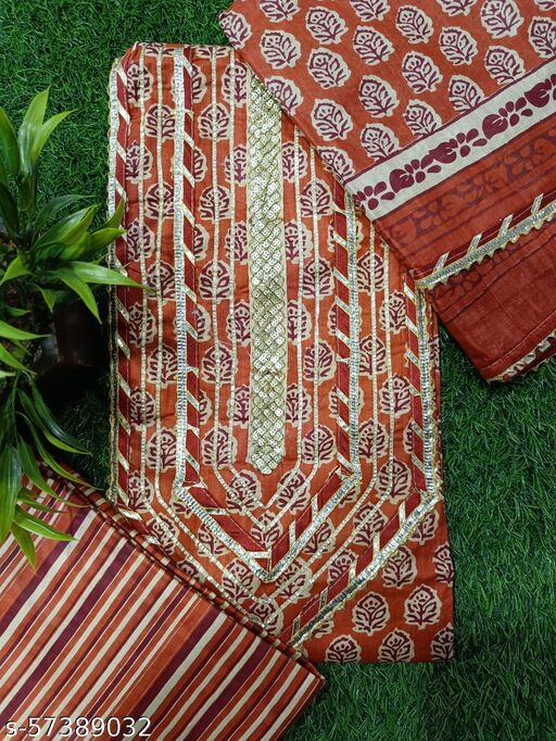 cotton suit with gotapati work