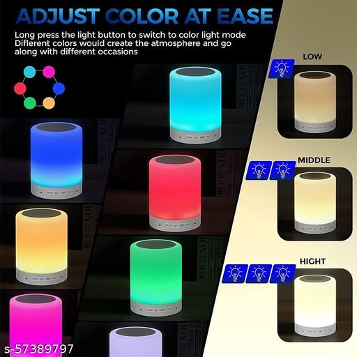 LED Touch Lamp Bluetooth, Wireless HiFi Speaker Light, Portable Rechargeable USB with SD Card Slot/AUX Input for Mobiles, Tablet, Laptop, Desktop and Mp3 Player