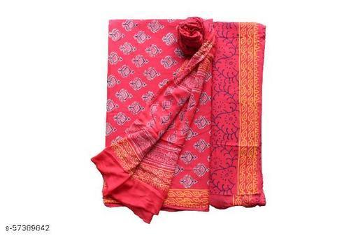Cotton Block Printed Salwar Suit Material With Chiffon Dupatta