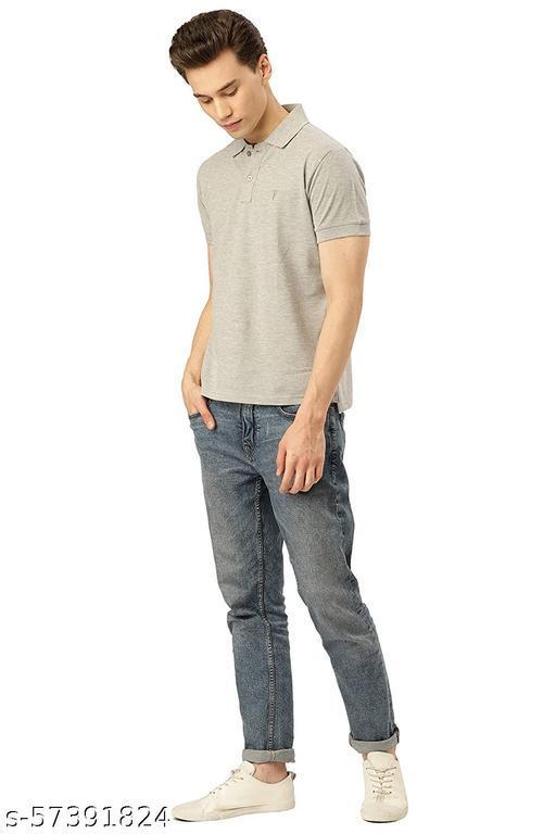 Sattvik certified Unisex Cotton Blend Solid Collared Regular Fit T-Shirt (Matte,Grey_XXL)