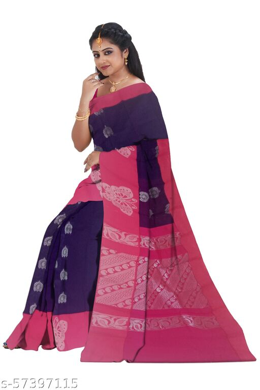 Kottanchi type cotton saree Violet color with Silver color  puttas and  butterfly design border, saree length 6.25 mtrs with blouse.