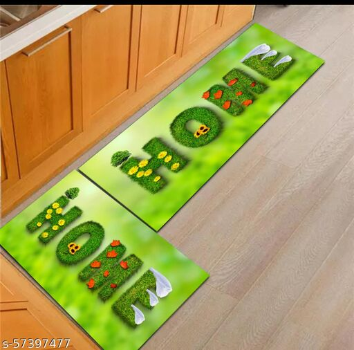 DNK PRODUCTS Kitchen Floor Mat & Runner with Anti Skid Backing, Set of 2 (40 x 120 & 40 x 60 cm) Multi Desgin 7