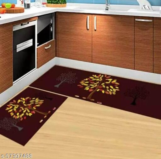 DNK PRODUCTS Kitchen Floor Mat & Runner with Anti Skid Backing, Set of 2 (40 x 120 & 40 x 60 cm) Multi Desgin 10