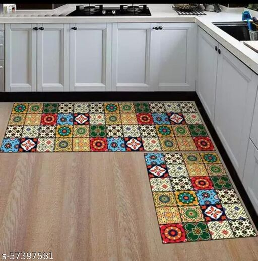 DNK PRODUCTS Kitchen Floor Mat & Runner with Anti Skid Backing, Set of 2 (40 x 120 & 40 x 60 cm) Multi Desgin 15