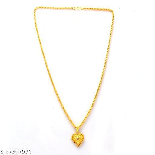 Jewar Mandi Fine Gold Plated Heart/Pan/Dil Locket Brass Pendant Designer Jewellry with Chain for Men