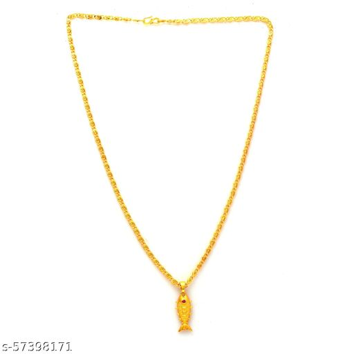 Jewar Mandi Fine Gold Plated Fish Locket Brass Pendant Designer Jewellry with Chain for Men