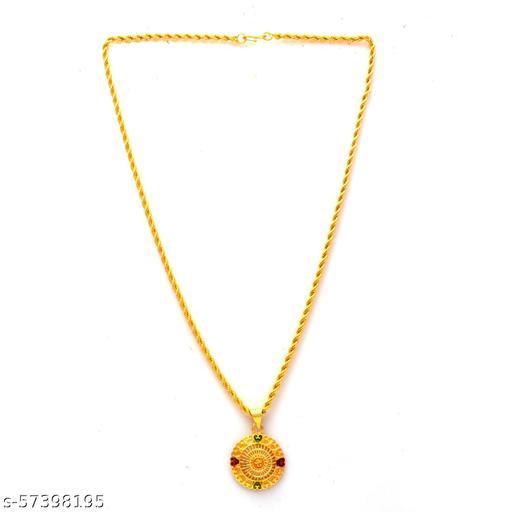 Jewar Mandi Fine Gold Plated Locket Brass Pendant Designer Jewellry with Chain for Men