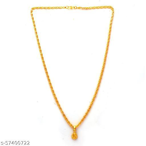 Jewar Mandi Fine Gold Plated Ganesh Locket Brass Pendant Designer Jewellry with Chain for Men