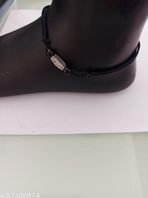 Black thread adjustable anklet for women