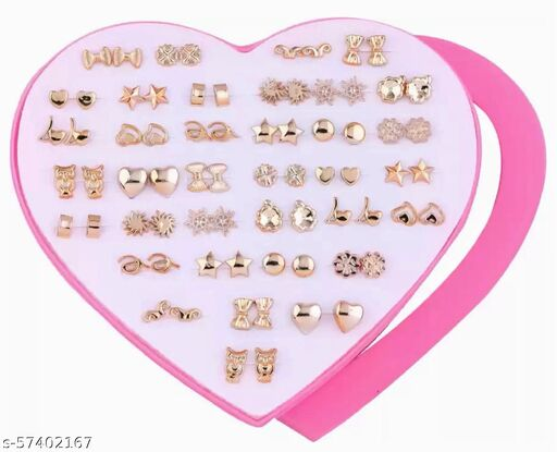 Karki Fusion Combo of 36 Pair of Stud Earrings with Heart Box (Gold)