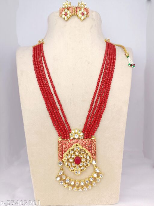 Charming Red Beads Long Set With Kundan Work