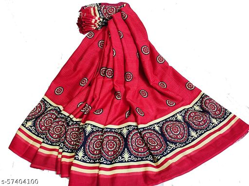 Women's Italian Red Synthetic with blouse piece Saree