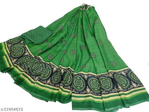 Women's Synthetic Green Sarees Design